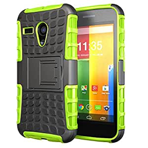 Moto G Case, Hybrid Dual Layer Full Protection / Shockproof / Impact Resistance Soft TPU Sleeve & Rigid Shell Case with Kickstand for Motorola Moto G