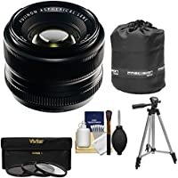 Fujifilm 35mm f/1.4 XF R Lens with 3 UV/CPL/ND8 Filters + Lens Pouch + Tripod Kit for X-A2, X-E2, X-E2s, X-M1, X-T1, X-T10, X-Pro2 Cameras