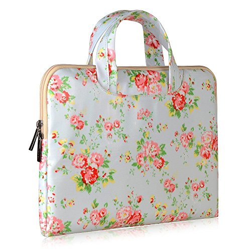 Onite Ultra Portable Portfolio PU Leather Sleeve for 11.6 to 12-Inch Laptops - Flower Pattern