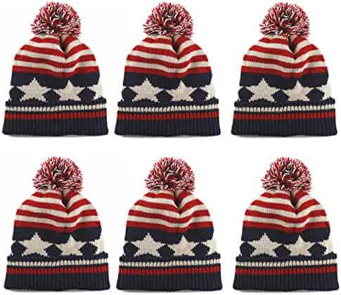 bb525cb9f40 THE HAT DEPOT Kids American Flag Knit Beanie Pom Pom Winter Hat Cap
