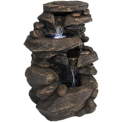 Sunnydaze Rock Waterfall Garden Fountain with LED Lights, 27 Inch Tall - Overall dimensions: 27 inches tall x 19 inches wide x 13 inches deep; weighs 27.2 pounds. Outdoor fountain features a durable polystone construction so it is sure to be long lasting. The LED light allows you to use the garden fountain during the evening hours creating a beautiful illumination in your outdoor space. - patio, outdoor-decor, fountains - 51E976dJNqL. SS400  -