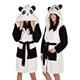 Emolly Fashion Panda Bathrobe with Hood Soft and Warm Robe for Women (Medium)