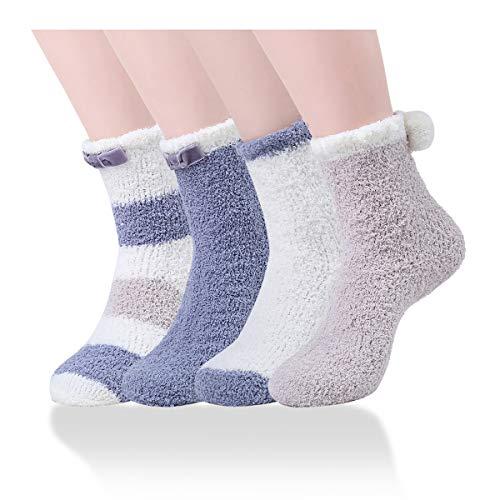 (Ninecoo Super Soft Cozy Winter Warm Slipper Socks Womens Anti Slip Grip Fuzzy Crew Sox 4 (Blue Series))