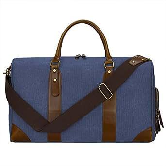 S-ZONE Canvas Leather Trim Travel Tote Duffel Shoulder Handbag Weekender Bag Blue
