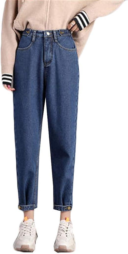 [ディーハウ] ジーンズ デニム ロングパンツ ハイウエスト レディース 裏起毛 ストレート デニム ズボン ゆったり ボトムス 大きい サイズ