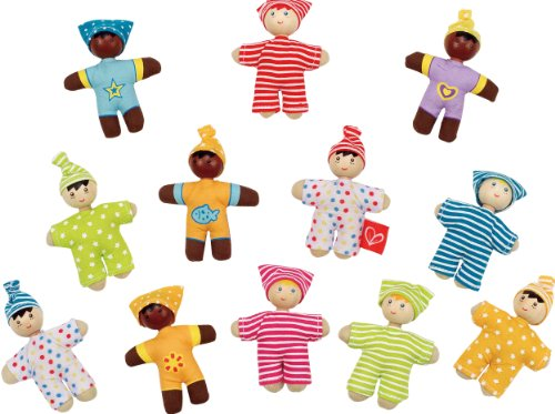 Hape Happy Babies Toddler Pocket Dolls Set of 12 (Doll Mixed Baby)