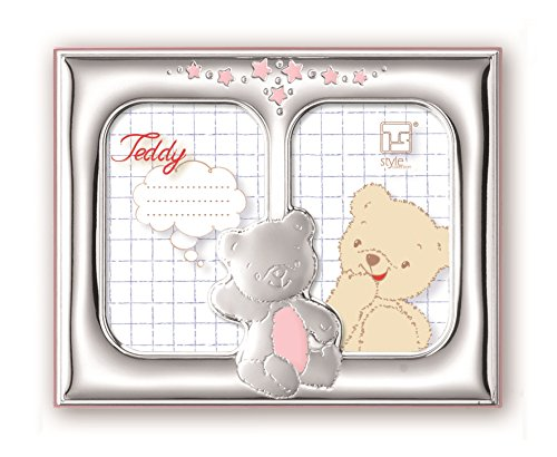 .925 Sterling Silver DOUBLE Picture Frame Bears. Made in ITALY (Pink)