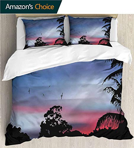 Cover Futon Palm - VROSELV-HOME King Duvet Cover Set,Box Stitched,Soft,Breathable,Hypoallergenic,Fade Resistant Bedding Sets,1 Duvet Cover,2 Pillowcase-Forest Palm Tree Silhouette Exotic (68