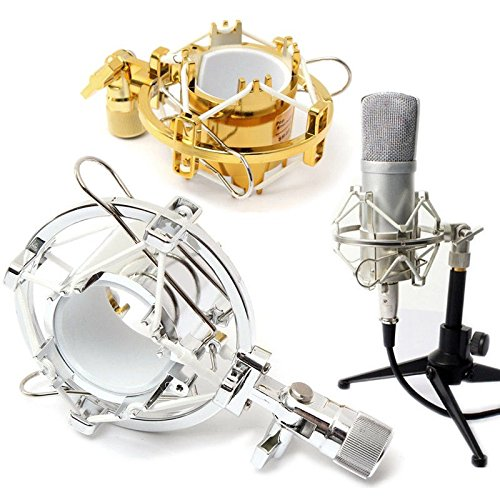 Blazers Studio - Studio Plastic Large Diameter Condenser Microphone Shock Mount Clip Holder Silver Color for Radio Broadcasting Studio, Voice Over Services, Audio Recording Studios