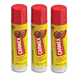 Carmex Lip Balm Stick, Strawberry, 3 Pack