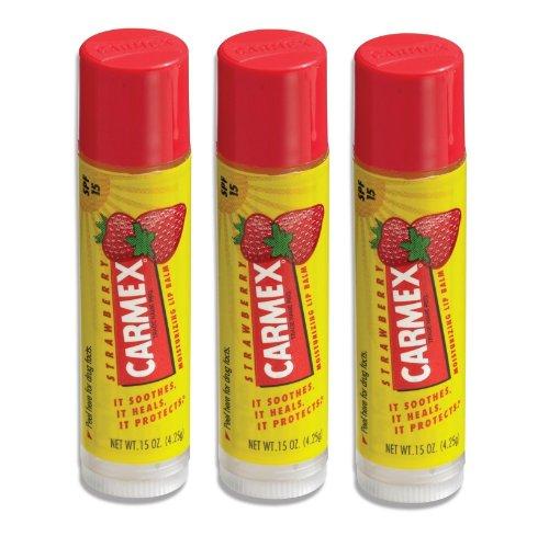 Carmex Lip Balm Stick, Strawberry, 3 Pack