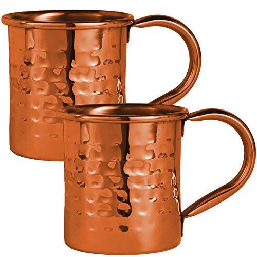 Sharper Image Copper Plated Moscow Mule Mug 2-Pack, 12.5 Fl. Oz./370 ML, Stainless Steel Lining and Strong Riveted Handles, Essential Barware, Easy Clean/Care, Vintage Hammered Finish, Classic Style