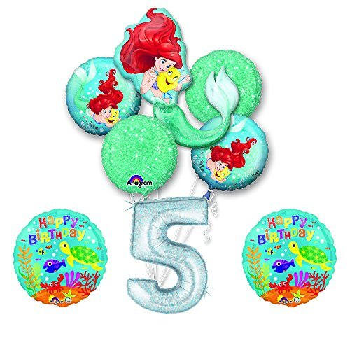 NEW! Ariel Little Mermaid Disney Princess Undersea 5th BIRTHDAY PARTY Balloon decorations supplies ()