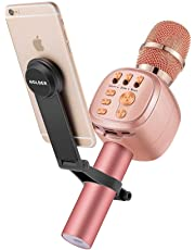 Beschoi Wireless Bluetooth Karaoke Microphone with Bracket, Portable Handheld Mic Speaker Karaoke with Built-in Speaker, Multi-color LED Lights & Multifunctional Phone Holder Suit for Computers, Tablets and Phone for Singing Home KTV Party Birthday (Rose gold)