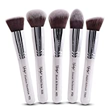 Nanshy Luxury Makeup Face Brush Set, 5 Professional Quality Brushes for your Face, Buffs and Blends very well, Easy Application of Mineral, Liquid and Cream Foundation, Soft and Dense Synthetic Bristles, Thick Handles with Pearl-Coat, Easy to Clean and Storage, Creates Amazing Velvety Finish