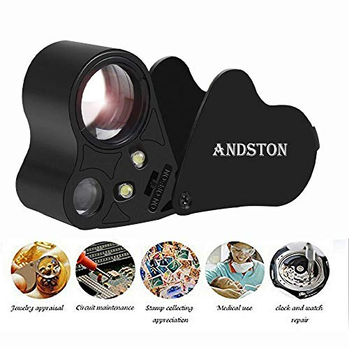 ANDSTON 30X 60X LED Lighted Illuminated Jewelers Eye Loupe Jewelry Magnifier for Gems Jewelry Rocks Stamps Coins Watches Hobbies Antiques Models Photos(Black)