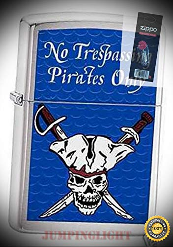3864 Pirates only trespassing Lighter with Flint Pack - Premium Lighter Fluid (Comes Unfilled) - Made in USA! ()