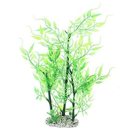 eDealMax Planta de bambú plástico acuario Paisaje Decoración DE 11 pulgadas Verde