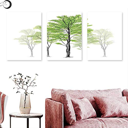 J Chief Sky Forest Wall hangings Sketch Style Tree with Green Leaves Abstract Dreamy Springtime Environment Wall Panel Art Green Black White Triptych Art Canvas W 20