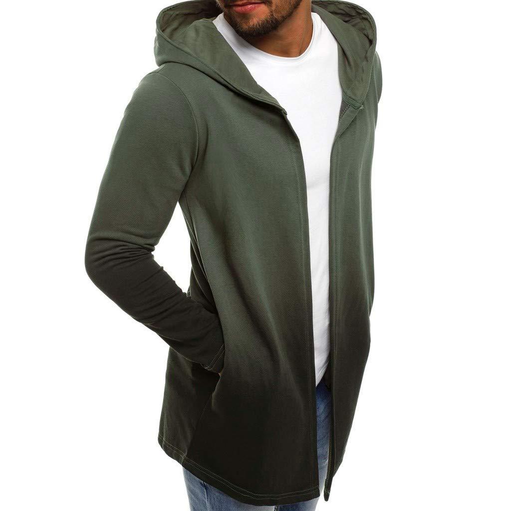 Amazon.com: Hombres Gradiente con Capucha Trench Coat Sólido ...