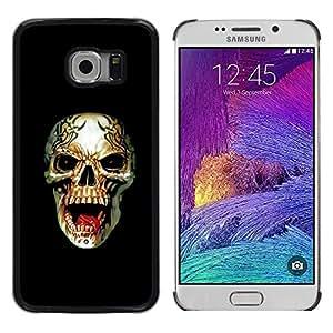 LECELL--Funda protectora / Cubierta / Piel For Samsung Galaxy S6 EDGE SM-G925 -- Rogue Metal Heavy Rock Black Skull --