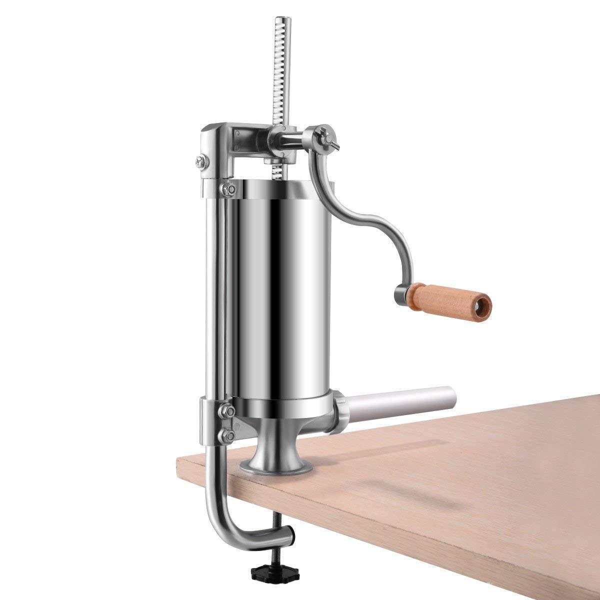 CHEFJOY 1.5L Vertical Sausage Stuffer Maker Stainless Steel Home Commercial Cylinder Filler w/ 4 Tubes Meat Grinder