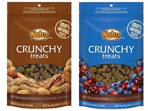 Nutro Crunchy Dog Treats 2 Flavor Variety Bundle: (1) Nutro Crunchy Dog Treats with Real Peanut Butter and (1) Nutro Crunchy Dog Treats with Real Mixed Berries, 10 Ounces Each (2 Bags Total)