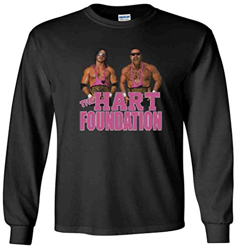 The Silo LONG SLEEVE BLACK The Hart Foundation WWF T-Shirt ADULT -