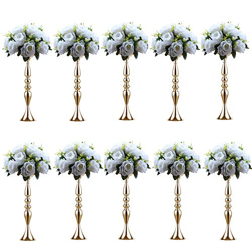 Sfeexun 10Pcs Versatile Metal Flower Arrangement & Candle Holder Stand Set Candlelabra for Wedding Party Dinner Centerpiece Event Restaurant Hotel Decoration -