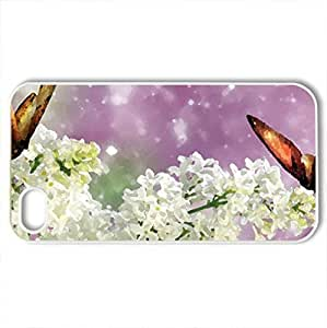 Sparkle of White Lilaces - Case Cover for iPhone 4 and 4s (Flowers Series, Watercolor style, White) by lolosakes