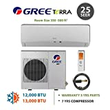 GREE Terra Ultra Efficient 12,000 BTU Ductless Mini Split A/C (208/230V) w/ Inverter, Heat, Remote & FREE 25' Line Set Kit