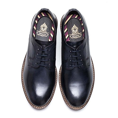 Base London Mens Spencer Washed Leather Smart Casual Derby Style Shoes Navy