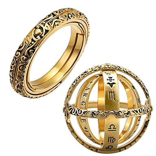 Transser Astronomical Globe Rings for Men & Women Vintage Openable Astronomy Science Ring Jewelry, Gift for Anniversary, Valentine's Day, Birthday Present (Gold)