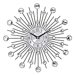 YYYHAN Metal Wall Clock, Diamond Beaded Crystal Jeweled Sunburst Silver Wall Clock Non Ticking Battery Operated Decorative Quartz Clock-for Living Room and Bedroom