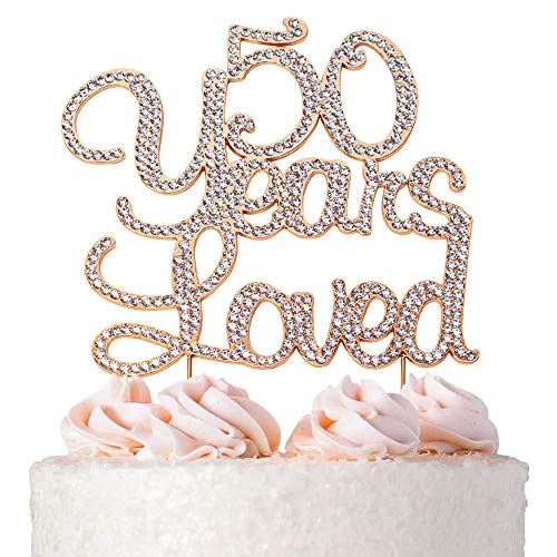Elegant Birthday Cakes (50 Years Loved ROSE GOLD Birthday Cake Topper | 50 Cake Topper | 50th Birthday or Anniversary Party Decoration Ideas | Premium Sparkly Crystal Diamond Gems | Quality Metal Alloy)