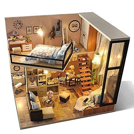 Amazon Com Unihobby Dollhouse Miniature Diy Dollhouse Kit With Dust