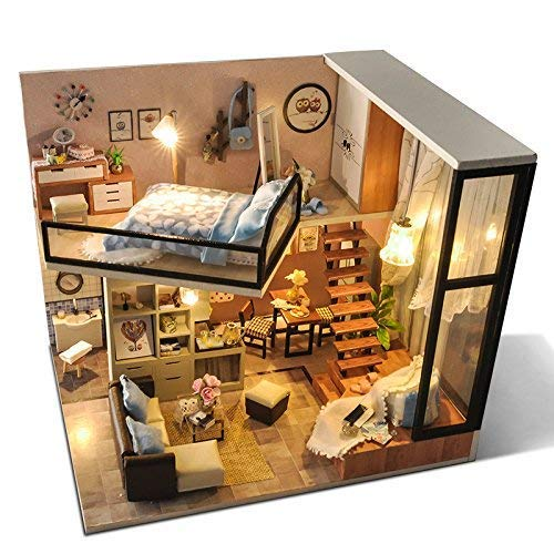 UniHobby DIY Dollhouse Kit with Dust Proof Cover 1:24 Scale Wooden DIY Miniature Dollhouse Kit Toy Gift ()