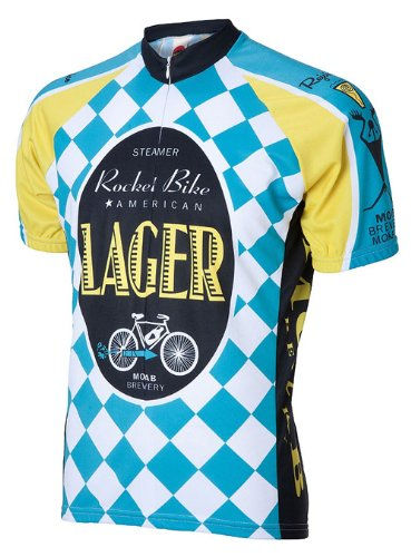 Moab Brewery Bike American Lager Beer Cycling Jersey by World Jerseys Large Men's Short (Brewery Lager)