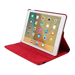 Tablet Case For iPad Air 2,elecfan book style 360 Degrees Rotating Slim Magnetic Stand Smart Case Cover For Apple iPad Air 2 9.7 inch (iPad air 2, Red)