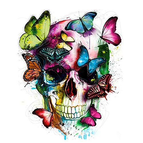 KZIK DIY Oil Painting for Adults Beginner Paint by Number Kit Digital Oil Painting with Brushes and Acrylic Paints 16x20 inch - Skull