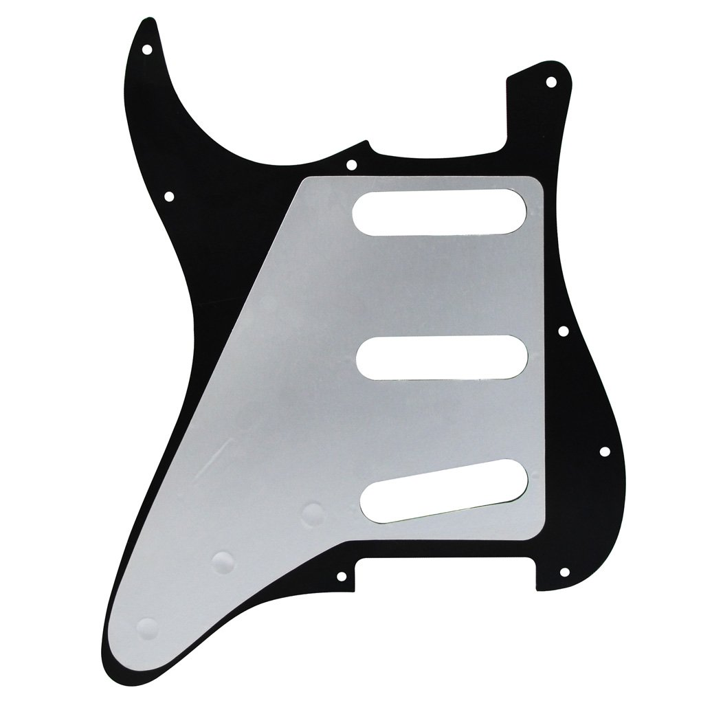 IKN 3Ply White Strat Pickguard and Back Plate Set for FD Standard Strat Modern Style 3 Single Coil Pickups Style 11 Holes
