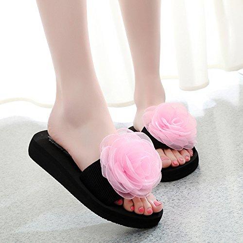 Raffreddare Antislittamento Qingchunhuangtang Con Piatto Fondo Pantofole Sul E Spesso Le Sandali Pantofole Rosa E Fondo xOggrq5X