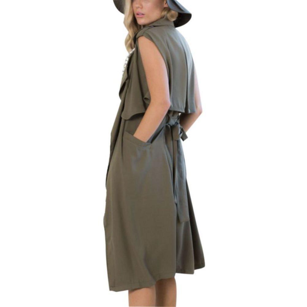 ELINKMALL Womens British Style Lapel Collar Long Windbreaker Parka Sleeveless Trench Vest Cardigan