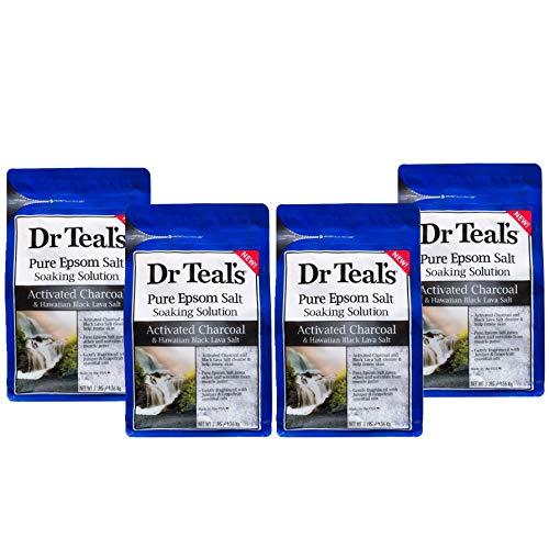 Dr Teal's Activated Charcoal & Lava Salt Soaking Solution, 3 lbs (Pack of 4) (Dr Teals Epsom Salt Ginger And Clay)