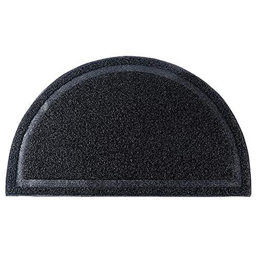 - Exttlliy PVC Half Round Entrance Mat Non-Slip Kitchen Bedroom Bathroom Entry Doormat Floor Rug for Home Decor (Black)