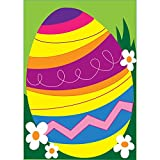 Decorated Multi Colored Easter Egg 18 x 13 Rectangular Double Applique Small Garden Flag For Sale