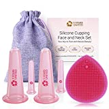Silicone Facial Cupping Therapy Set- Anti-Wrinkle and Anti-Aging effect, Headache Relief. Ultimate Facial Kit with Exfoliating Brush for Deep Cleansing. 100% Hygienic.