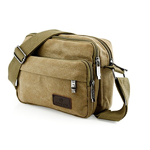 GEARONIC TM Men Vintage Crossbody Canvas Messenger Shoulder Bag School Hiking Military Travel Satchel - Khaki