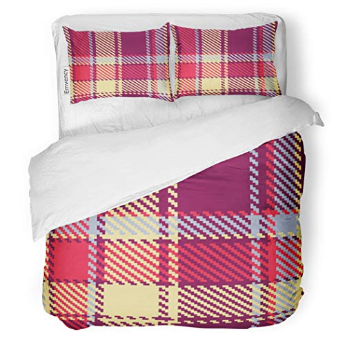 SanChic Duvet Cover Set Tartan Checkered Red Blue Yellow Violet Pattern Plaid Decorative Bedding Set with 2 Pillow Cases Full/Queen - Blue Violet Yellow