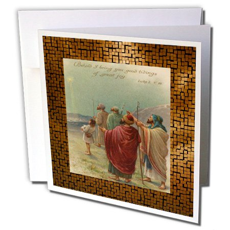 3dRose Vintage Shepherds and the Star of Bethlehem - Greeting Cards, 6 x 6 inches, set of 12 (gc_6221_2)